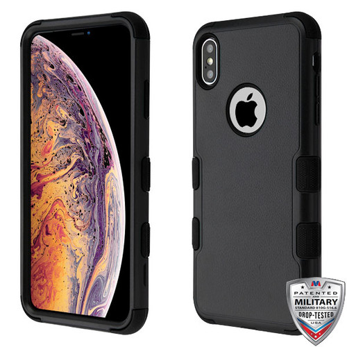 MyBat TUFF Hybrid Protector Cover [Military-Grade Certified] for Apple iPhone XS Max - Natural Black / Black