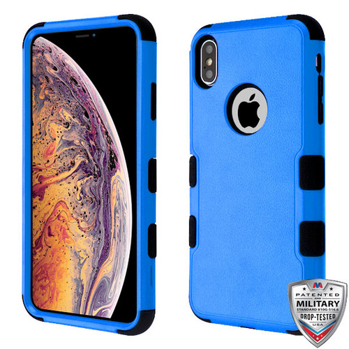 MyBat TUFF Hybrid Protector Cover [Military-Grade Certified] for Apple iPhone XS Max - Natural Dark Blue / Black
