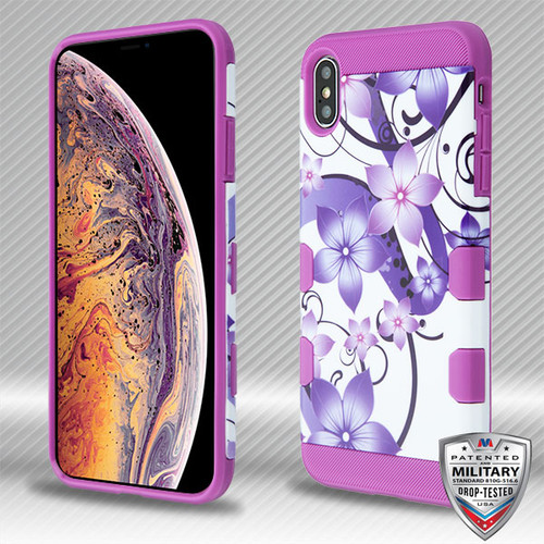 MyBat TUFF Trooper Hybrid Protector Cover [Military-Grade Certified] for Apple iPhone XS Max - Purple Hibiscus Flower Romance / Electric Purple