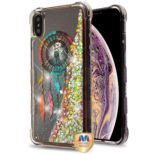 MyBat TUFF Quicksand Glitter Lite Hybrid Protector Cover for Apple iPhone XS Max - Dreamcatcher / Gold Stars