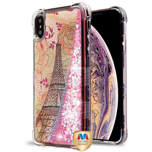 MyBat TUFF Quicksand Glitter Lite Hybrid Protector Cover for Apple iPhone XS Max - Eiffel Tower / Pink Hearts