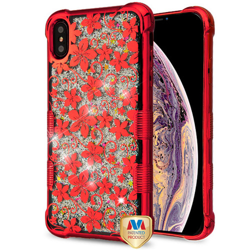 MyBat TUFF Quicksand Glitter Lite Hybrid Protector Cover for Apple iPhone XS Max - Red Electroplating / Hibiscus Flower / Silver Flowing Sparkles