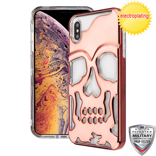 MyBat SKULLCAP Lucid Hybrid Protector Cover [Military-Grade Certified] for Apple iPhone XS Max - Rose Gold Plating / Transparent Clear