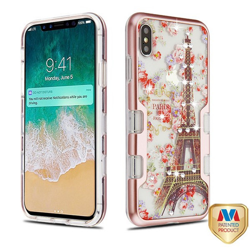 MyBat TUFF Panoview Hybrid Protector Cover for Apple iPhone XS Max - Metallic Rose Gold / Paris in Full Bloom Diamante