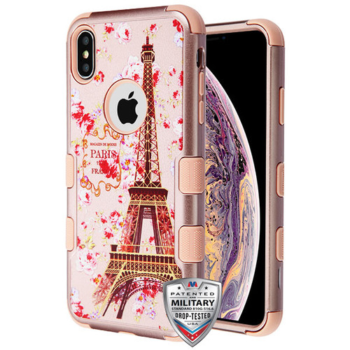 MyBat TUFF Hybrid Protector Cover [Military-Grade Certified] for Apple iPhone XS Max - Paris in Full Bloom Textured Rose Gold / Rose Gold