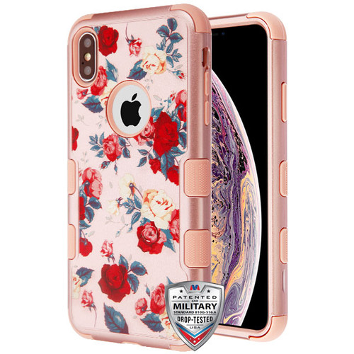 MyBat TUFF Hybrid Protector Cover [Military-Grade Certified] for Apple iPhone XS Max - Red and White Roses Textured Rose Gold / Rose Gold