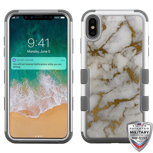 MyBat TUFF Krystal Gel Hybrid Protector Cover [Military-Grade Certified] for Apple iPhone XS Max - Gold & White Marble (Silver) / Iron Gray