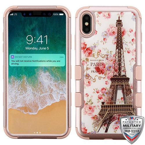 MyBat TUFF Krystal Gel Hybrid Protector Cover [Military-Grade Certified] for Apple iPhone XS Max - Paris in Full Bloom (Rose Gold) / Rose Gold