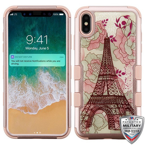 MyBat TUFF Krystal Gel Hybrid Protector Cover [Military-Grade Certified] for Apple iPhone XS Max - Eiffel Tower (Rose Gold) / Rose Gold