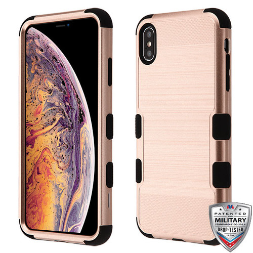 MyBat TUFF Hybrid Protector Cover [Military-Grade Certified] for Apple iPhone XS Max - Rose Gold Brushed / Black