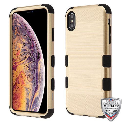 MyBat TUFF Hybrid Protector Cover [Military-Grade Certified] for Apple iPhone XS Max - Gold Brushed / Black