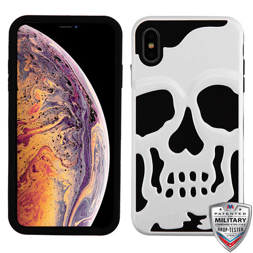 MyBat Skullcap Hybrid Protector Cover [Military-Grade Certified] for Apple iPhone XS Max - Ivory White / Black