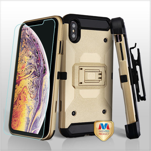 MyBat 3-in-1 Kinetic Hybrid Protector Cover Combo (with Black Holster)(Tempered Glass Screen Protector) for Apple iPhone XS Max - Gold / Black
