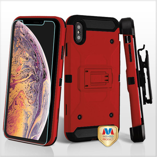 MyBat 3-in-1 Kinetic Hybrid Protector Cover Combo (with Black Holster)(Tempered Glass Screen Protector) for Apple iPhone XS Max - Red / Black