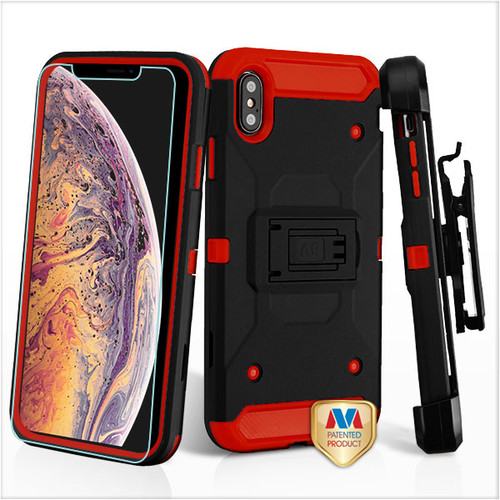 MyBat 3-in-1 Kinetic Hybrid Protector Cover Combo (with Black Holster)(Tempered Glass Screen Protector) for Apple iPhone XS Max - Black / Red
