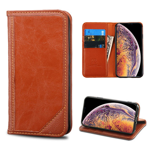 MyBat Genuine Leather MyJacket Wallet for Apple iPhone XS Max - Brown