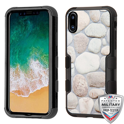 MyBat TUFF Hybrid Protector Cover [Military-Grade Certified] for Apple iPhone XS/X - Rocky Pebbles / Black
