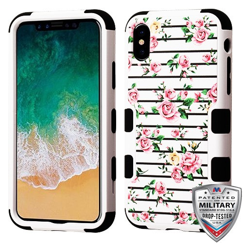 MyBat TUFF Hybrid Protector Cover [Military-Grade Certified] for Apple iPhone XS/X - Pink Fresh Roses / Black