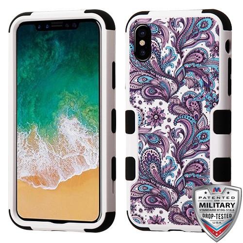 MyBat TUFF Hybrid Protector Cover [Military-Grade Certified] for Apple iPhone XS/X - Purple European Flowers / Black