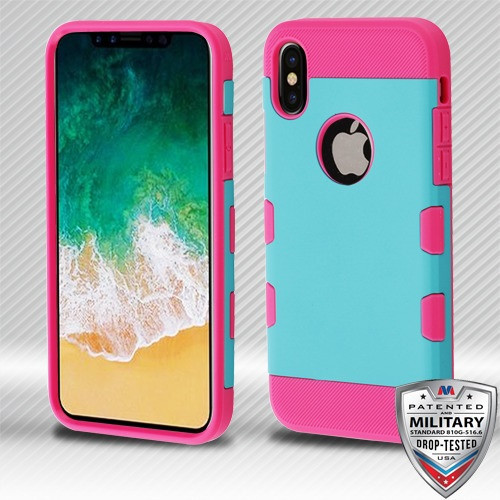 MyBat TUFF Trooper Hybrid Protector Cover [Military-Grade Certified] for Apple iPhone XS/X - Rubberized Teal Green / Electric Pink