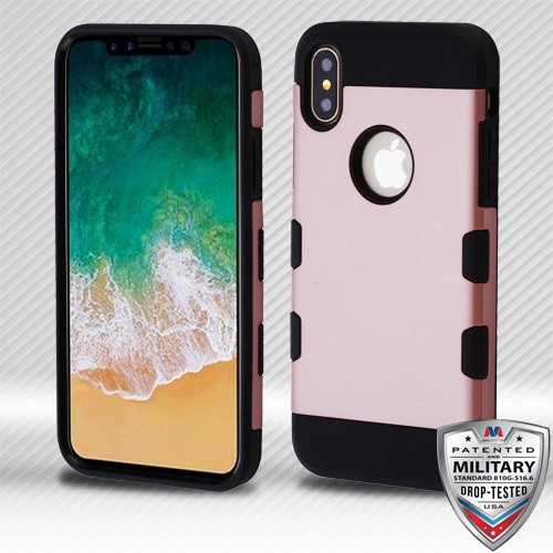 MyBat TUFF Trooper Hybrid Protector Cover [Military-Grade Certified] for Apple iPhone XS/X - Rose Gold / Black