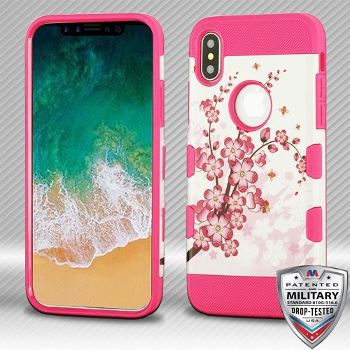 MyBat TUFF Trooper Hybrid Protector Cover [Military-Grade Certified] for Apple iPhone XS/X - Spring Flowers / Electric Pink