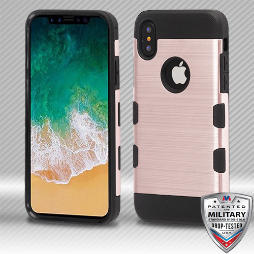 MyBat Brushed TUFF Trooper Hybrid Protector Cover [Military-Grade Certified] for Apple iPhone XS/X - Rose Gold / Black