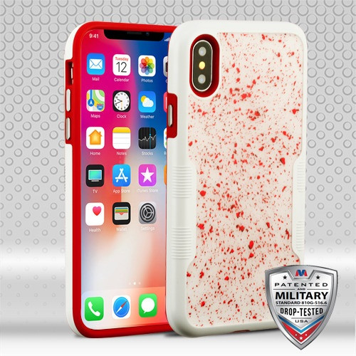 MyBat TUFF Contempo Hybrid Protector Cover for Apple iPhone XS/X - Red Flakes (Natural Ivory White) / Red
