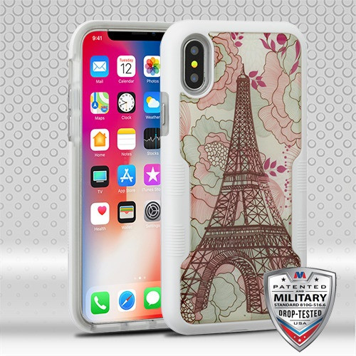 MyBat TUFF Contempo Hybrid Protector Cover for Apple iPhone XS/X - Eiffel Tower (Natural Ivory White) / Transparent Clear