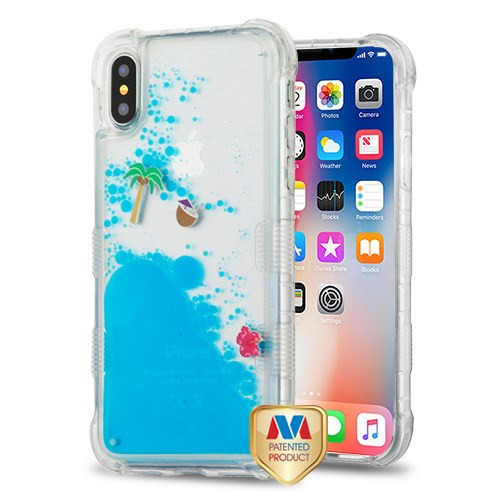 MyBat TUFF AquaLava Hybrid Protector Cover for Apple iPhone XS/X - Tropical Island (Coconut Palm / Coconut / Red Flower) Blue Oil