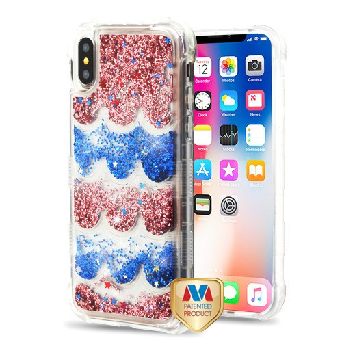 MyBat TUFF Quicksand Glitter Lite Hybrid Protector Cover for Apple iPhone XS/X - Transparent Semicircle Partition (Rose Gold / Blue Flowing Sparklings)