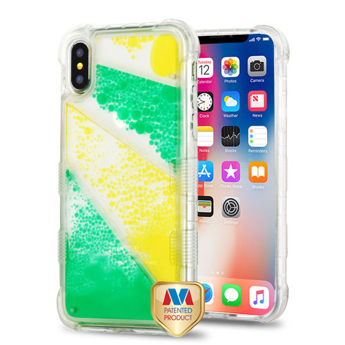 MyBat TUFF AquaLava Hybrid Protector Cover for Apple iPhone XS/X - Transparent Diagonal Partition (Yellow / Green Oil)