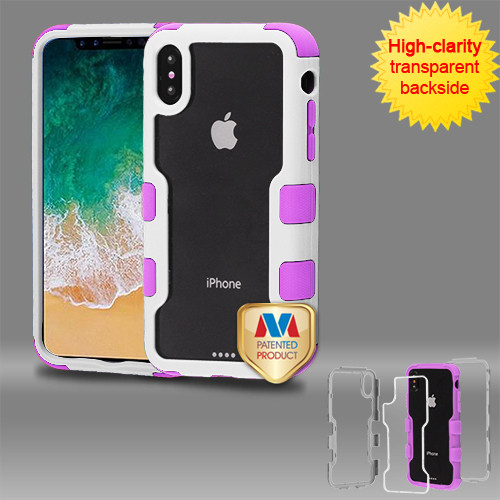 MyBat TUFF Vivid Hybrid Protector Cover for Apple iPhone XS/X - Natural Ivory White Frame+Transparent PC Back / Electric Purple