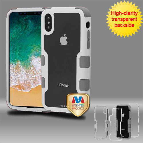 MyBat TUFF Vivid Hybrid Protector Cover for Apple iPhone XS/X - Natural Ivory White Frame+Transparent PC Back / Iron Gray