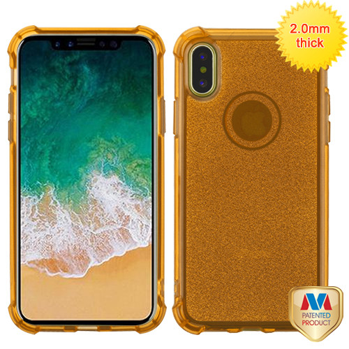 MyBat Sheer Glitter Premium Candy Skin Cover for Apple iPhone XS/X - Transparent Gold
