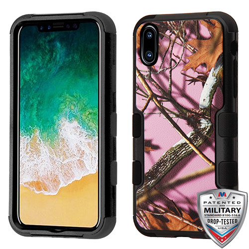 MyBat TUFF Hybrid Protector Cover [Military-Grade Certified] for Apple iPhone XS/X - Pink Oak-Hunting Camouflage Collection / Black