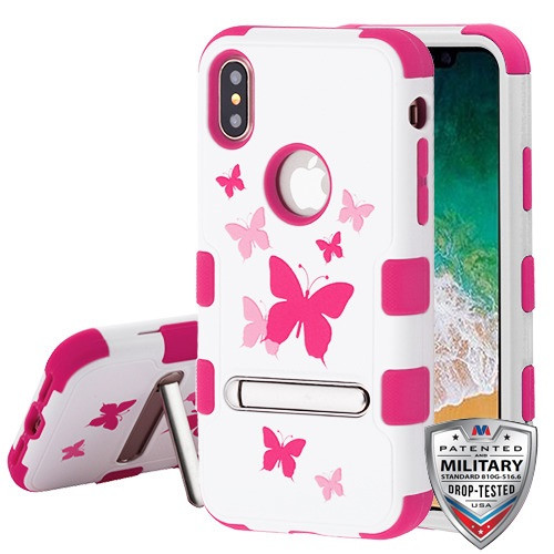 MyBat TUFF Hybrid Protector Cover (with Magnetic Metal Stand)[Military-Grade Certified] for Apple iPhone XS/X - Butterfly Dancing / Hot Pink