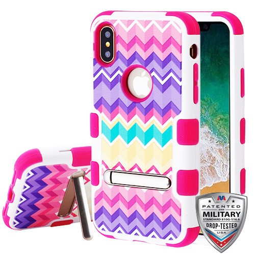 MyBat TUFF Hybrid Protector Cover (with Magnetic Metal Stand)[Military-Grade Certified] for Apple iPhone XS/X - Camo Wave / Hot Pink