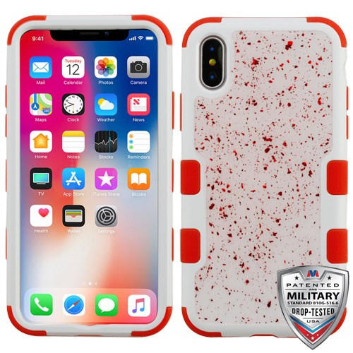MyBat TUFF Krystal Gel Hybrid Protector Cover [Military-Grade Certified] for Apple iPhone XS/X - Red Flakes (Natural Ivory White) / Red