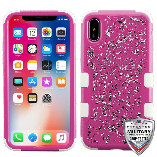 MyBat TUFF Krystal Gel Hybrid Protector Cover [Military-Grade Certified] for Apple iPhone XS/X - Silver Flakes (Natural Hot Pink) / Solid White