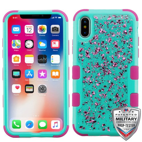 MyBat TUFF Krystal Gel Hybrid Protector Cover [Military-Grade Certified] for Apple iPhone XS/X - Hot Pink Flakes (Natural Teal Green) / Hot Pink
