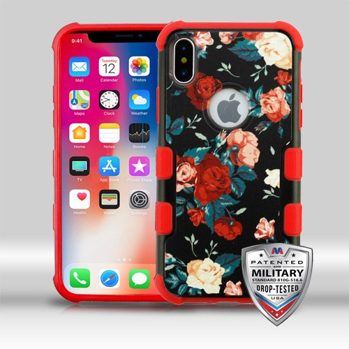 MyBat TUFF Merge Hybrid Protector Cover [Military-Grade Certified] for Apple iPhone XS/X - Red and White Roses / Red