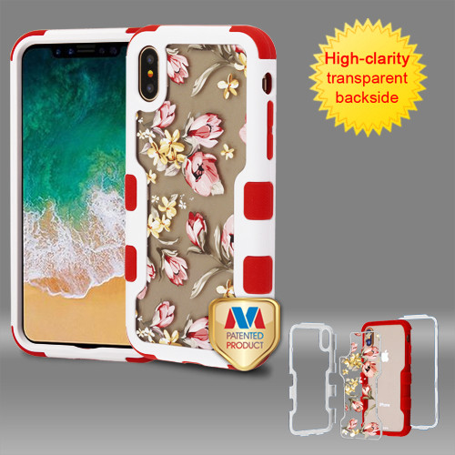 MyBat TUFF Vivid Hybrid Protector Cover for Apple iPhone XS/X - Natural Ivory White Frame+Transparent Painted Flowers PC Back / Red