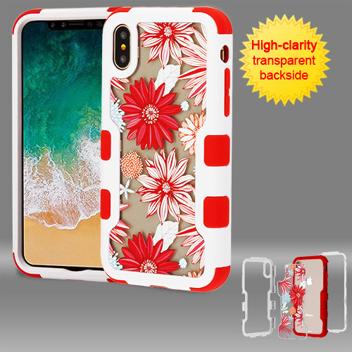 MyBat TUFF Vivid Hybrid Protector Cover for Apple iPhone XS/X - Natural Ivory White Frame+Transparent Spring Daisies PC Back / Red