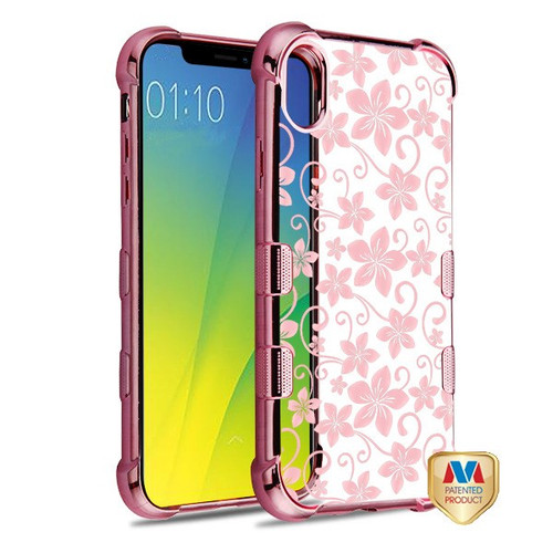 MyBat TUFF Klarity Candy Skin Cover for Apple iPhone XS/X - Rose Gold Plating & Hibiscus Flower