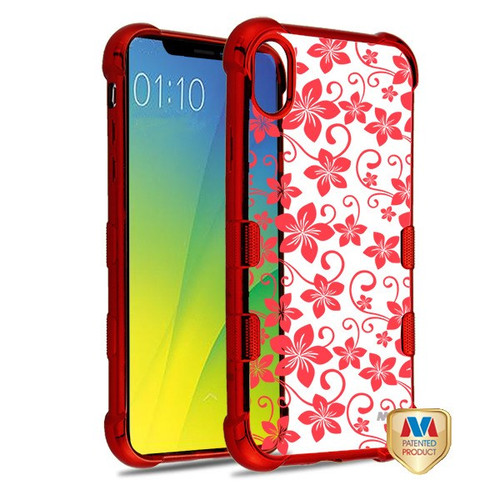 MyBat TUFF Klarity Candy Skin Cover for Apple iPhone XS/X - Red Plating & Hibiscus Flower