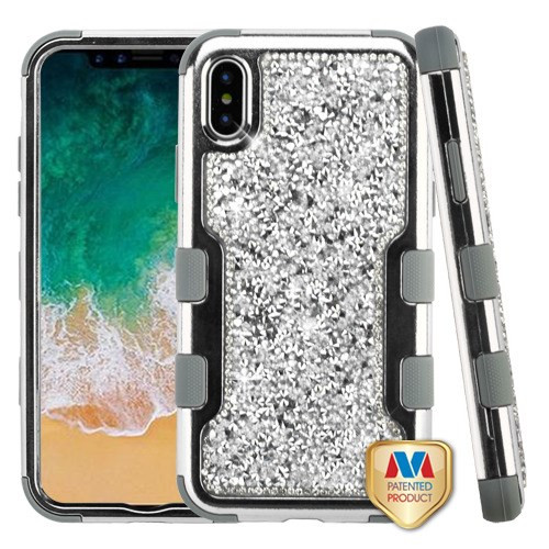 MyBat TUFF Vivid Hybrid Protector Cover for Apple iPhone XS/X - Silver Plating Frame+Silver Mini Crystals Back / Iron Gray
