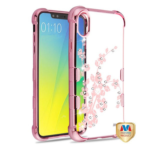 MyBat TUFF Klarity Candy Skin Cover (with Package) for Apple iPhone XS/X - Rose Gold Plating & Spring Flowers Diamante