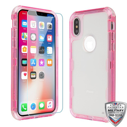MyBat TUFF Lucid Plus Hybrid Protector Cover (Tempered Glass Screen Protector)[Military-Grade Certified] for Apple iPhone XS/X - Transparent Pink / Transparent Clear