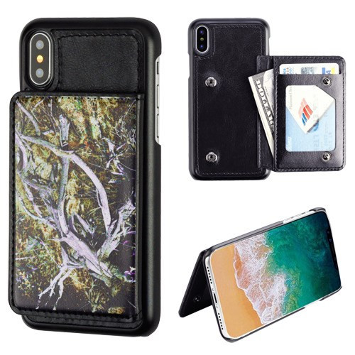 MyBat Executive Protector Cover (PC Case with Snap Fasteners) for Apple iPhone XS/X - Yellow / Black Vine / Black Flip Wallet